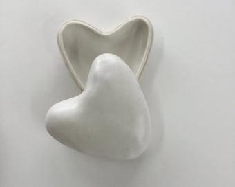 ceramic hearts and white box brown , handmade