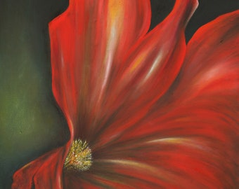 Crimson Rapture-  Original Oil Painting on Gallery Wrapped Canvas 20x16