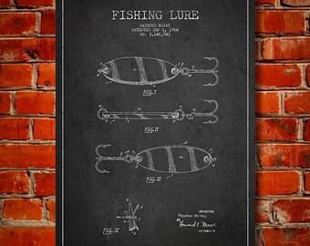 1964 Fishing Lure Patent, Canvas Print, Wall Art, Home Decor, Gift Idea