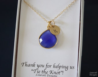5 Initial Bridesmaid Necklace Blue, Bridesmaid Gift, Royal Blue Gemstone, Gold, Monogram Jewelry, Personalized,Blue Gemstone Charm,Dark Blue