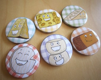 Set of 6 magnets illustrated cheeses, kitchen magnets, refrigerator