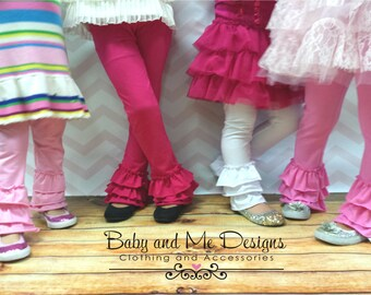Triple Ruffle Leggings Girls size 6 month to 9/10     New Colors for Valentines Day