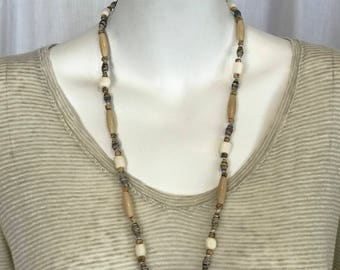 Wood, Bone & Paper Bead Necklace