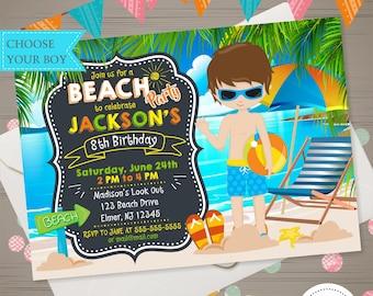BOY BEACH PARTY invitation Beach Party Birthday Invitation Summer Birthday Party Summer Invite Tropical Hawaiian Invitation Swimming Party