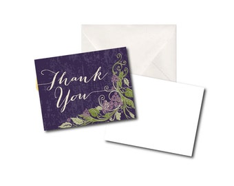 Bridal Shower Thank You Cards - Wine Theme - Grape Vines