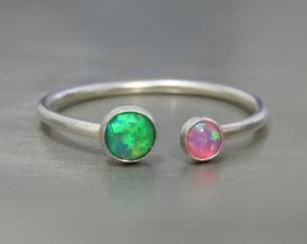 opal rings for women - opal ring sterling silver - dainty opal ring - green opal ring