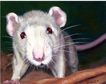 Rat Animal Art Print of Original Painting by Dottie Dracos, Little White Rat, Various Sizes