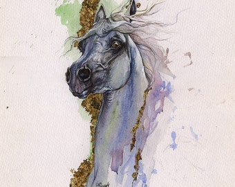 Grey arabian horse original gilded watercolour painting