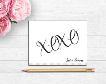 XOXO Note Cards, Folded Note Cards, Personalized Stationery, Personalized Notes, XOXO Personalized Gifts