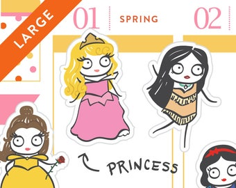 P260 - LARGE Princess planner stickers, Disney princess inspired, mermaid stickers, beauty, belle, , 11 stickers, LARGE size