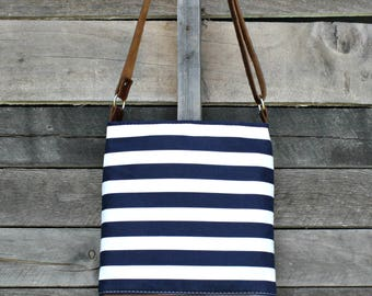 Crossbody Bag,  Navy and White Stripe, Genuine Leather, Everyday Purse, Adjustable Strap
