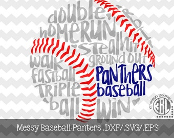 Messy Panthers Baseball design INSTANT DOWNLOAD in dxf/svg/eps for use with programs such as Silhouette Studio and Cricut Design Space
