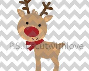 Cute Christmas Reindeer SVG file - PNG