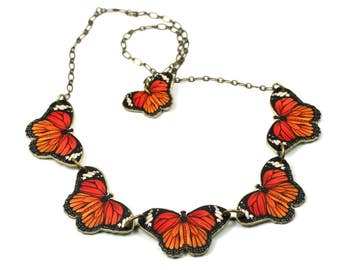 Monarch Butterfly Necklace, Orange Butterfly Necklace, Butterfly Necklace, Shrink Plastic, Brass Butterfly Necklace, Mother's Day Jewelry