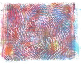 Laser Copy of Original Acrylic Artwork / Magenta, Blue, Orange, Yellow Palm Frond Design