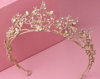 Secret Garden Dragonfly Tiara Bridal Crown Gold Floral Wedding Tiara Hair Accessory