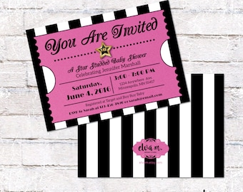 Pink Hollywood Ticket Invitation. Hollywood or Film Party Invite. Digital File to Print Yourself.