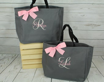4 Bridesmaids Gifts Tote Bag Personalized Tote Bridesmaid Gift for her Monogrammed Tote Wedding Tote Bridal Party Personalized Tote Bag