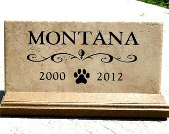 Pet Memorial maintenance free. Personalized sandblasted engraving