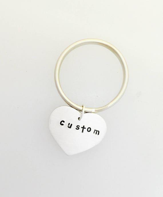 custom heart keychain personalized keychain vegan