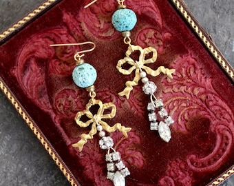 Rhinestone assemblage earrings vintage antique jewelry repurposed recycled up cycled antiqued filigree lava aqua