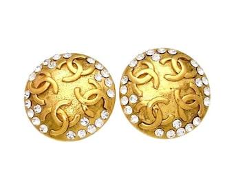 SALE - Authentic Vintage Chanel earrings CC logo rhinestone #ea1376