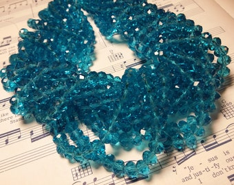 Glass Beads - 42 pcs - 8mm x 6mm - Faceted Beads - Turquoise Faceted Beads  -  Rondelles - Turquoise Beads
