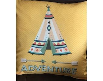 Tee Pee Adventure Throw Pillow