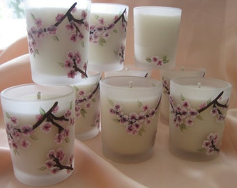 Cherry Blossom Handpainted Container Votives
