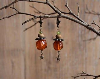 Orange dangle earrings