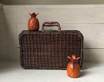 Wicker Picnic Basket   Vintage Wicker Picnic Basket   Woven Picnic Basket   Wicker Suitcase Basket   Summer Fun   Storage Organization