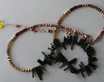 Tourmaline Stick Faceted Petrol Tourmaline Copper Gold Pyrite Necklace