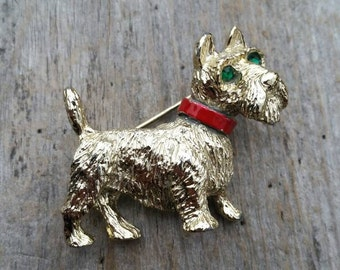 Gerry's Gold Tone Scottish Terrier with Red Collar and Green Eyes Brooch