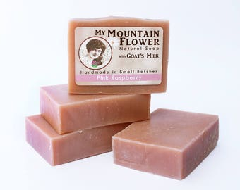 Pink Raspberry Soap, Natural Goat Milk Soap, Lye Soap, Cold Process Soap