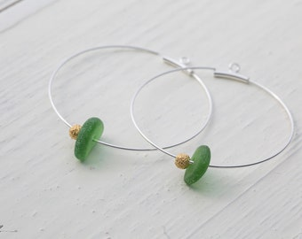 Creole Glass Pearl Green Gold Silver