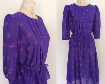 1980's Purple Printed Peplum Polyester Dress Size Small Medium Large by Maeberry Vintage