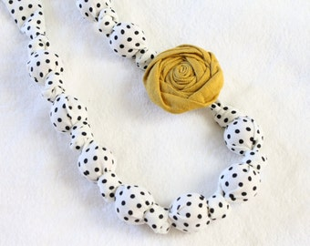 Fabric Necklace, Fabric Rose Statement Necklace, Fabric Teething Necklace, Nursing Necklace, Breastfeeding necklace, for Mom, for baby
