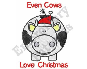 Even Cows Love Christmas - Machine Embroidery Design