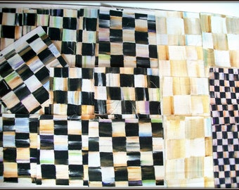 """NINETEEN  (19) * AUTHENTIC* Mackenzie Childs Unused 5"""" Fabric Squares Pieces Courtly and Parchment Check B&W Quilting Fabric Collage ETC"""