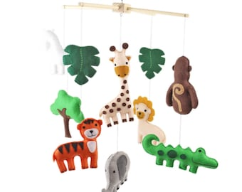 Mobile Sewing Pattern, Jungle Nursery Mobile, Safari Baby Hand Sewing Pattern, Felt DIY Baby Mobile, Nursery Decor