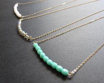 Bridesmaid necklace, Beaded bar necklace, Custom color minimalist necklace, Friendship necklace, Bridesmaid gifts