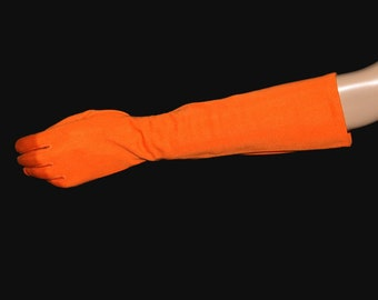 Vintage 1960s Gloves// Elbow Gloves // Bright Orange// Nylon// 60s Long Gloves// Pinup// Bombshell// Art Deco