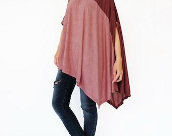 NO.197 Deep Red Cotton-Blend Jersey Color Block Top, Asymmetrical T-Shirt, Women's Top