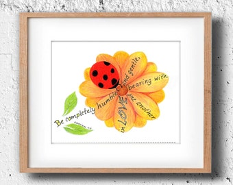 Ladybug, Bible Verse art print, scripture design, hand lettered typography, wall art decor