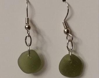 Olive green Lake Erie tumbled beach glass earrings.