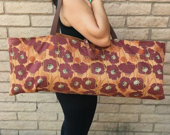 Yoga tote, yoga mat bag, yoga bag, RUST POPPIES, yoga mat carrier, yoga mat tote, yoga sling, yoga mat case, lined yoga bag, yoga case