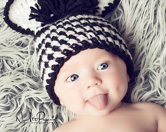 Crochet PATTERN - Baby Hat Crochet Pattern - Baby Zebra Hat Pattern - Includes 3 Sizes - Photo Prop Pattern - Instant Download PDF 158