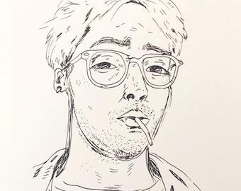 custom pen sketch portrait