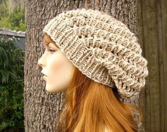 Knit Hat Womens Hat Slouchy Beanie - Spring Cyclone Beret in Oatmeal Knit Hat - Oatmeal Hat Oatmeal Beanie Womens Accessories Winter Hat