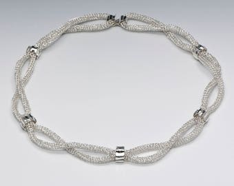 "Necklace, Hand-knit Silver Cord, ""Banded Together"""